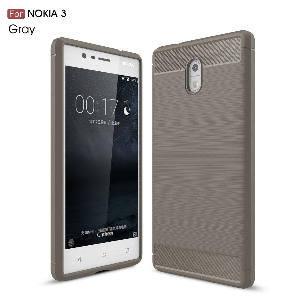 Nokia 3 - TPU cover med børstet design - Grå