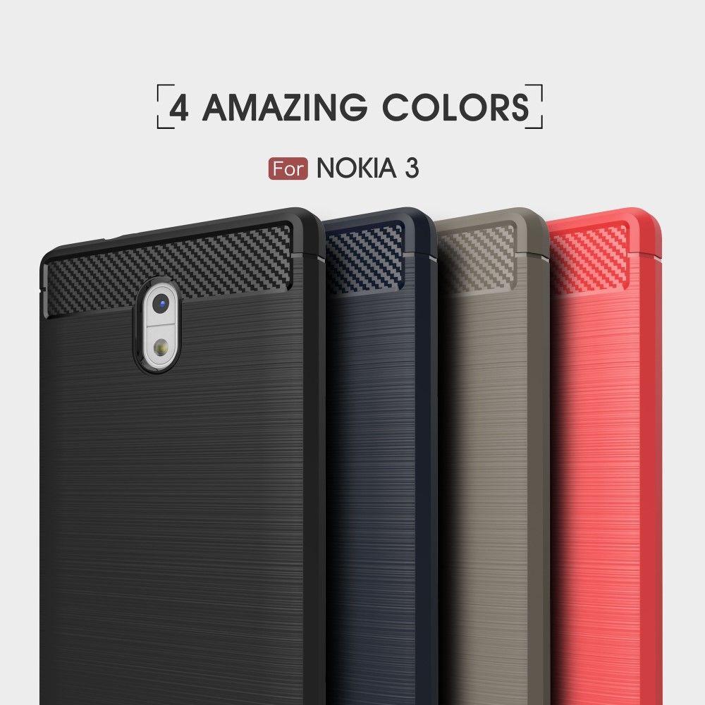 Image of   Nokia 3 - TPU cover med børstet design - Mørkeblå
