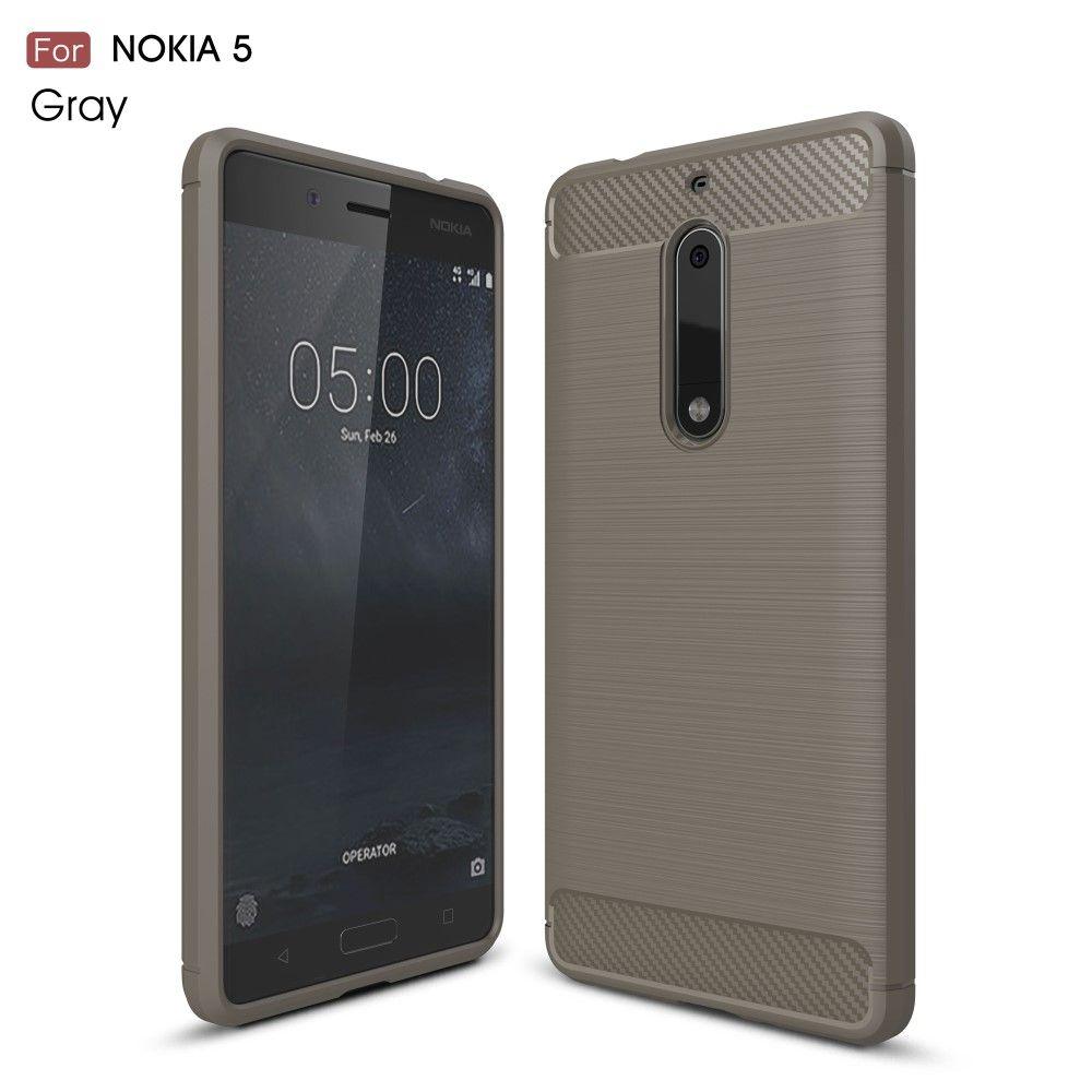 Nokia 5 - TPU cover med børstet look - Grå