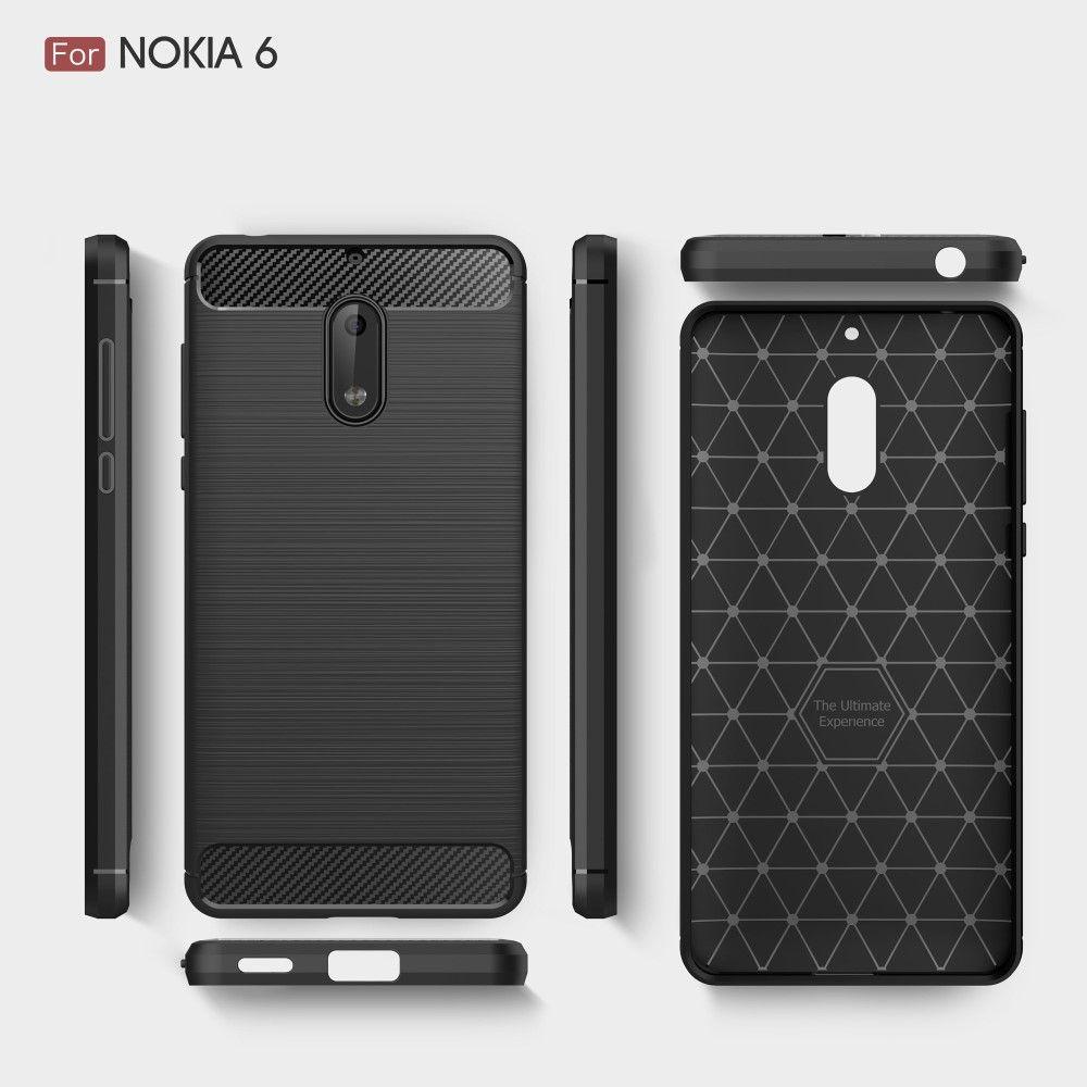 Nokia 6 (2017) - TPU cover med børstet look - Sort