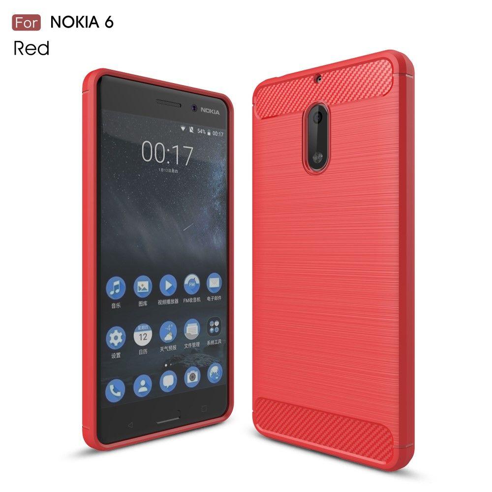 Nokia 6 (2017) - TPU cover med børstet look - Rød