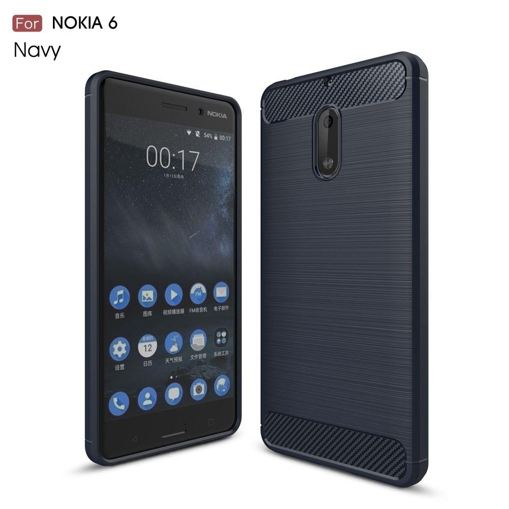 Nokia 6 (2017) - TPU cover med børstet look - Mørkeblå