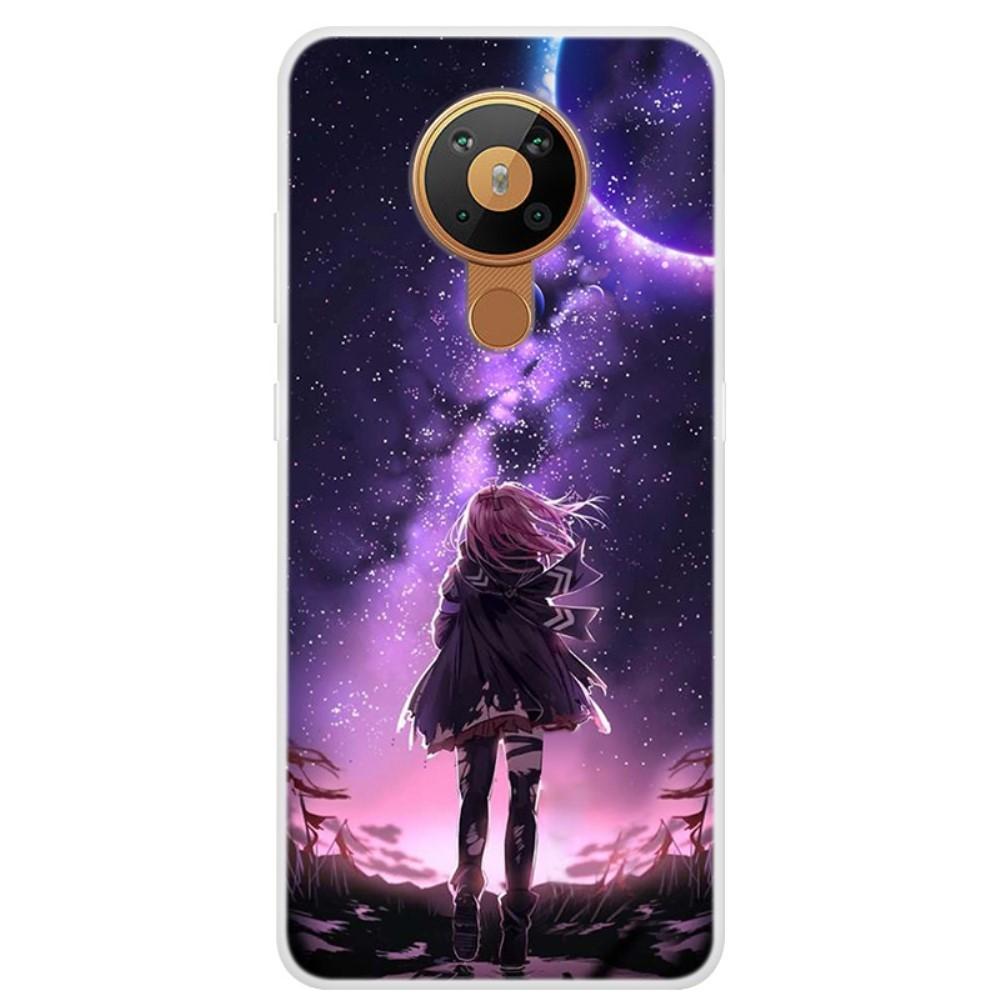 Nokia 5.3 - Gummi cover med printet Design - Pige & måneskin