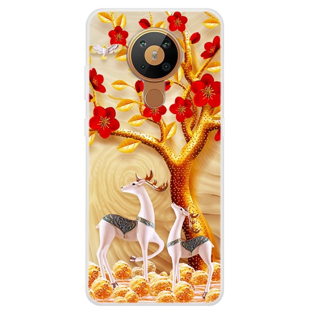 Nokia 5.3 - Gummi cover med printet Design - Træ & Rensdyr