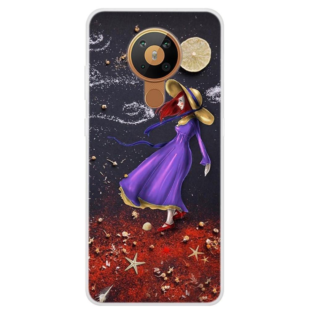 Nokia 5.3 - Gummi cover med printet Design - Pige med rødt hår