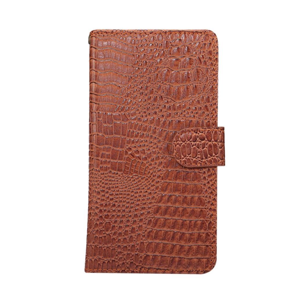 """Image of   Krokodille design læder cover / pung 5.5"""" - Brun"""