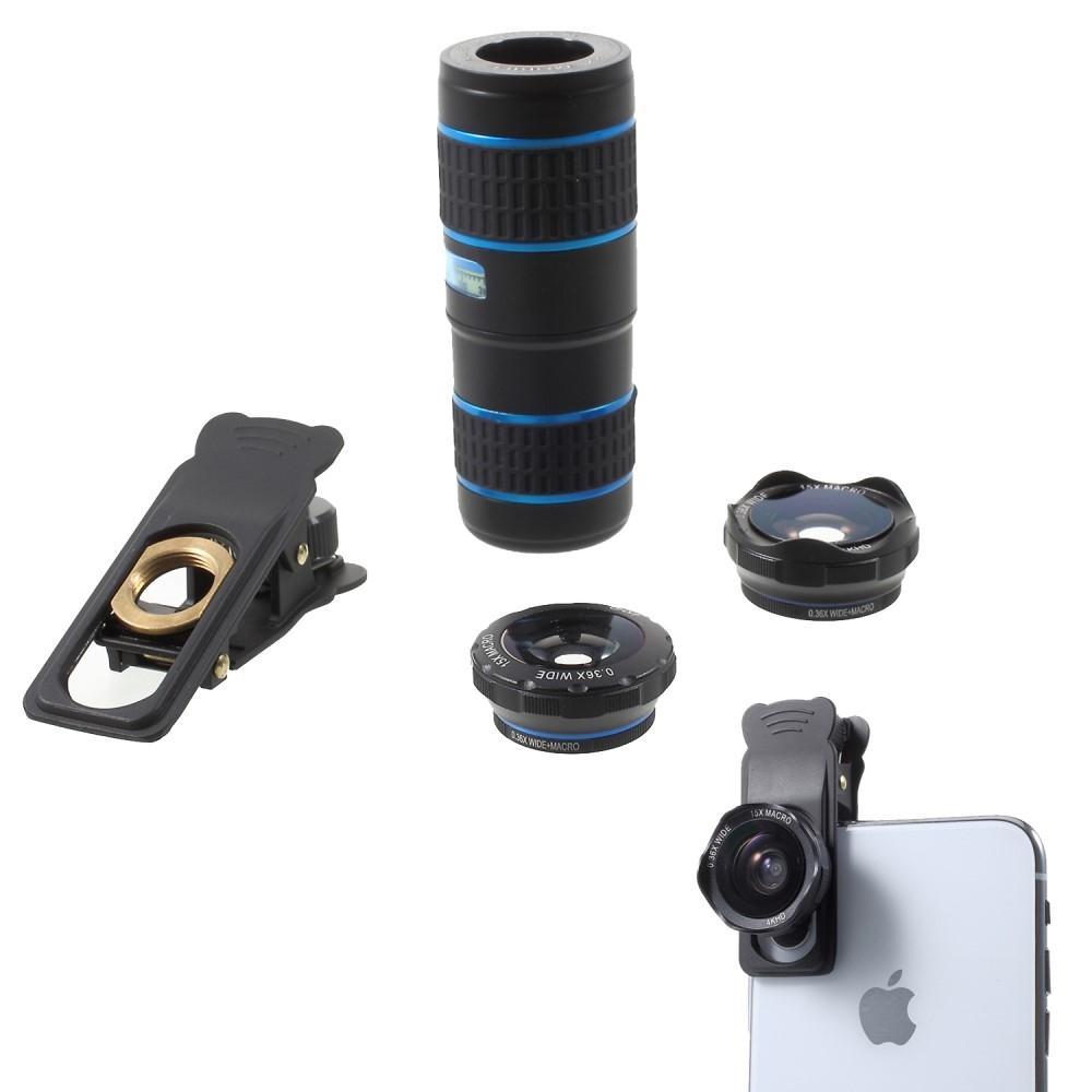 Image of   iPhone / Smartphone - 5-i-1 Clip linse sæt med bla. 12x Zoom + Vidvinkel & Macro linse