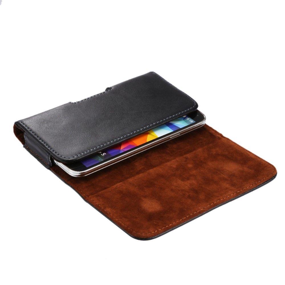 """Image of   Universal bælte taske/cover i ægte læder 5.2"""" - Sort"""