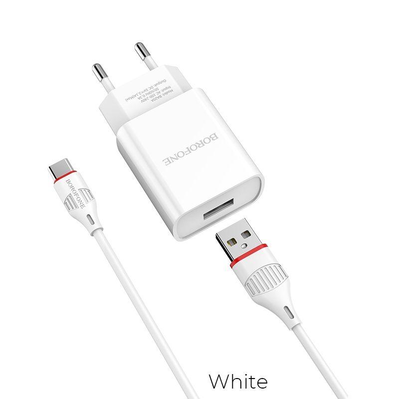 Image of   BOROFONE Sharp - USB HURTIG oplader / adapter med Type-C kabel 1m - hvid
