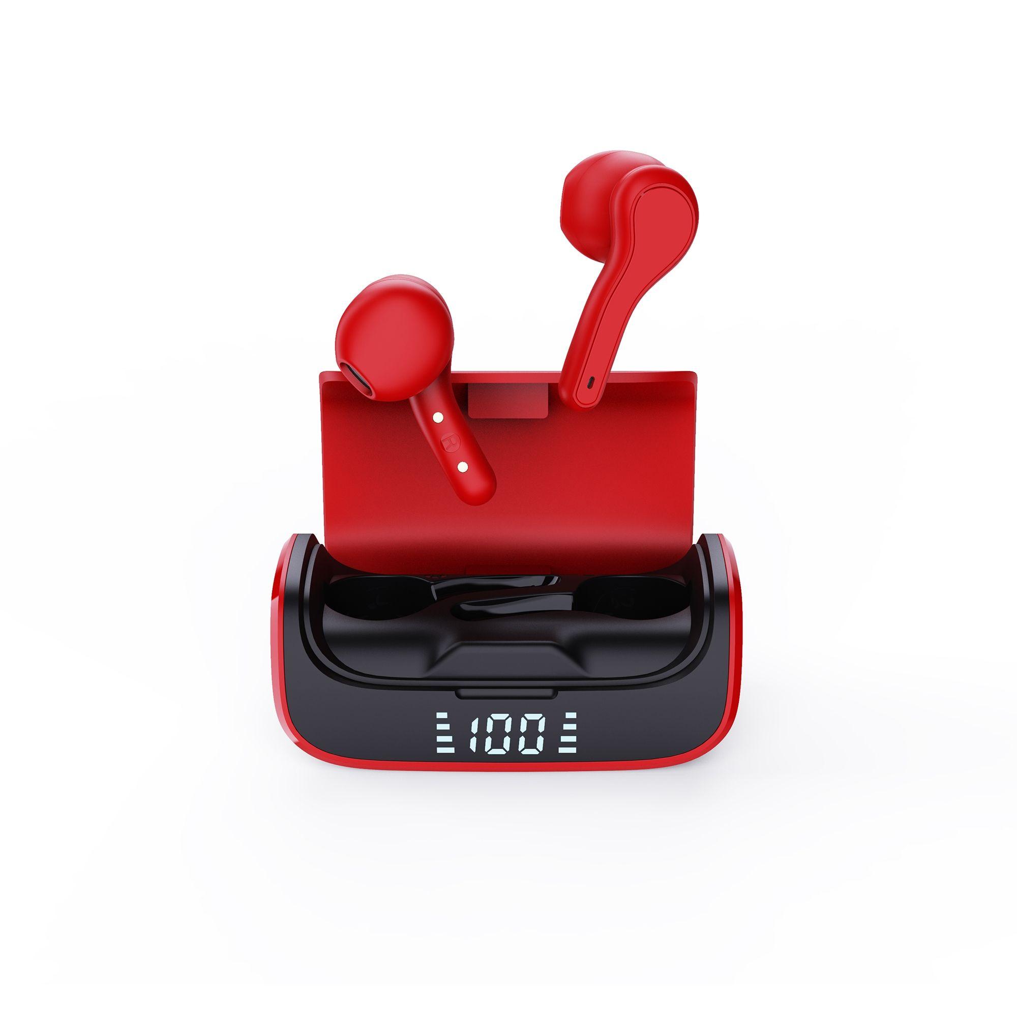 Billede af K28 Sound - Black Earbuds - Trådløse Høretelefoner med Touch funktion & opladerbox - Vandtæt / Svedsikre - Rød