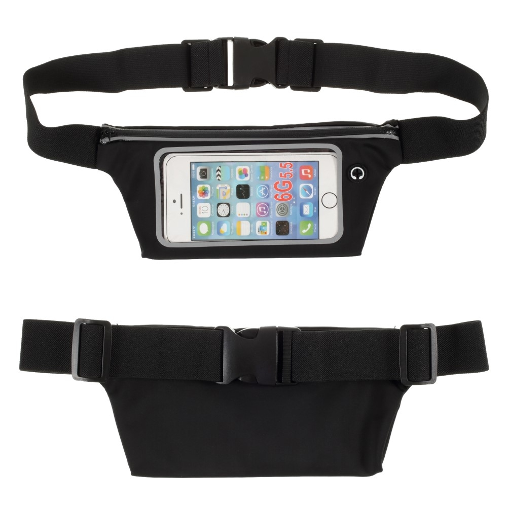 Billede af Bæltetaske med lomme til iPhone/smartphone op til 160mm - Touch skærm - Vandtæt - Sort