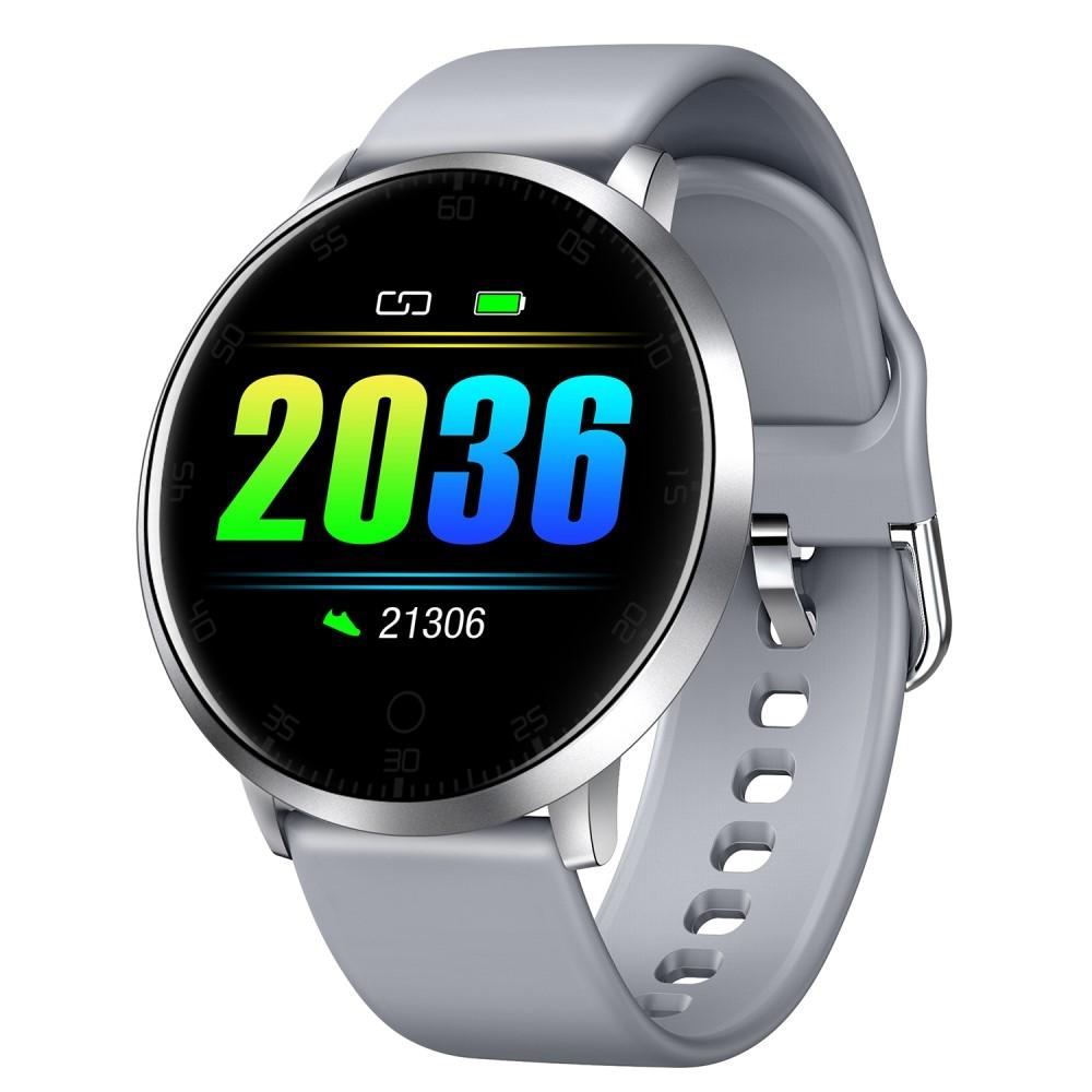 LEMONDA K12 - Smartwatch - APP med DANSK SPROG - Touch skærm / Vandtæt / Blodtryk / Puls / Skridt + meget mere - Grå