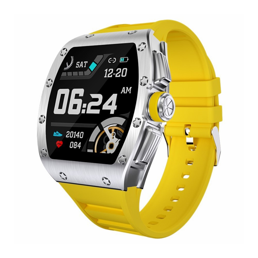 LEMONDA M2 - Bluetooth Smartwatch iOS / Android - Vandtæt - Puls - Blodtryk - Opkald - sms - multi sportsmodes - Sølv/gul