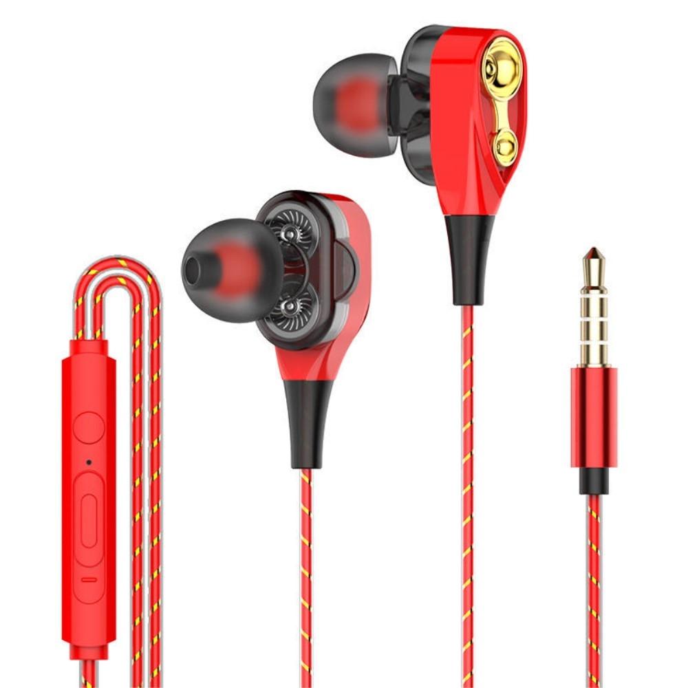 Billede af DB DRIVER - In-Ear Høretelefoner med 3.5mm audio kabel - Mikrofon & kontrolpanel - Rød