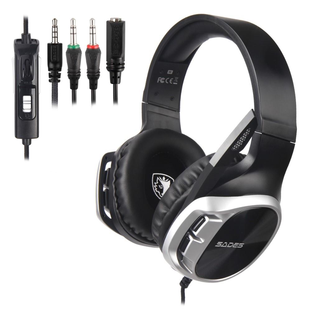 Billede af SADES R17 - GAMING Over-Ear Høretelefoner - 50mm DRIVER - 3.5mm kabel - 1.5m - Sølv