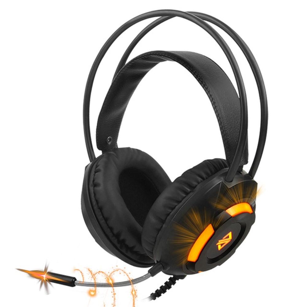 Billede af AJAZZ X120 - GAMING Høretelefoner med LED lys - Noise Cancelling - USB kabel 2.2m - Sort