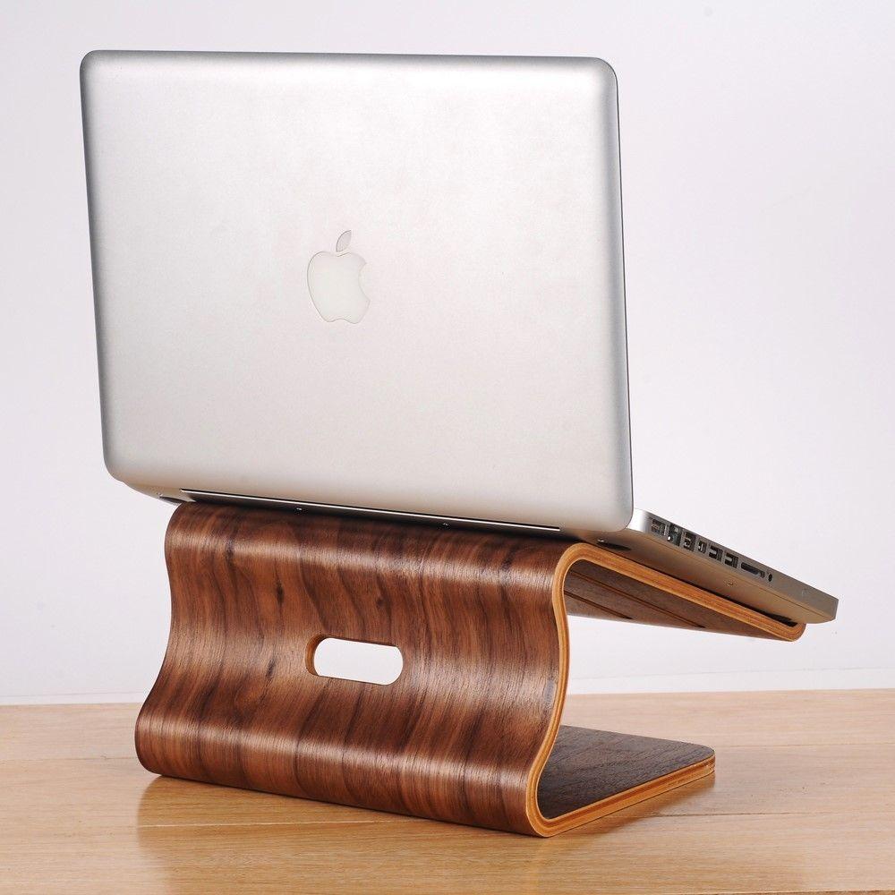 SAMDI laptop holder i træ til MacBook/PC - Brun