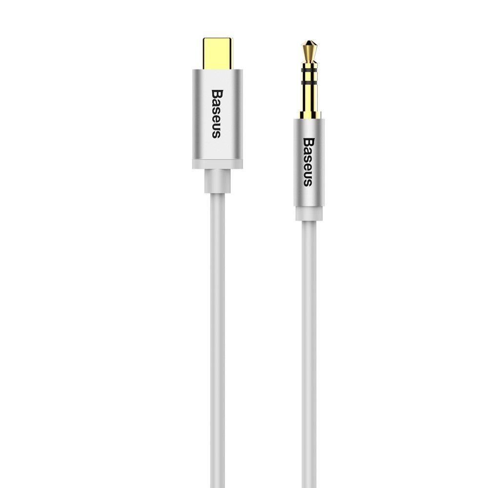 BASUES - Type-C / AUX Audio kabel 1.2m - Sølv