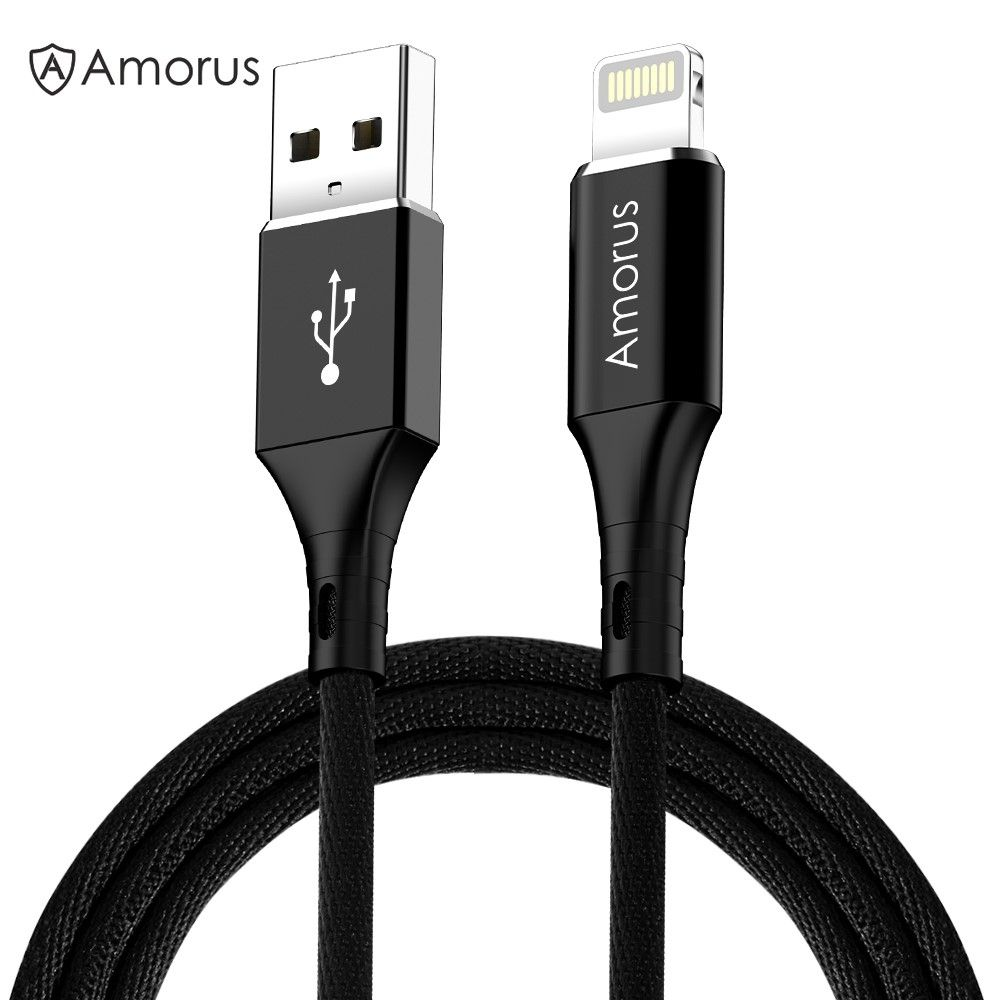 Image of AMORUS - Lightning 8pin Nylon USB-Kabel data/sync - iphone/iPad - Sort