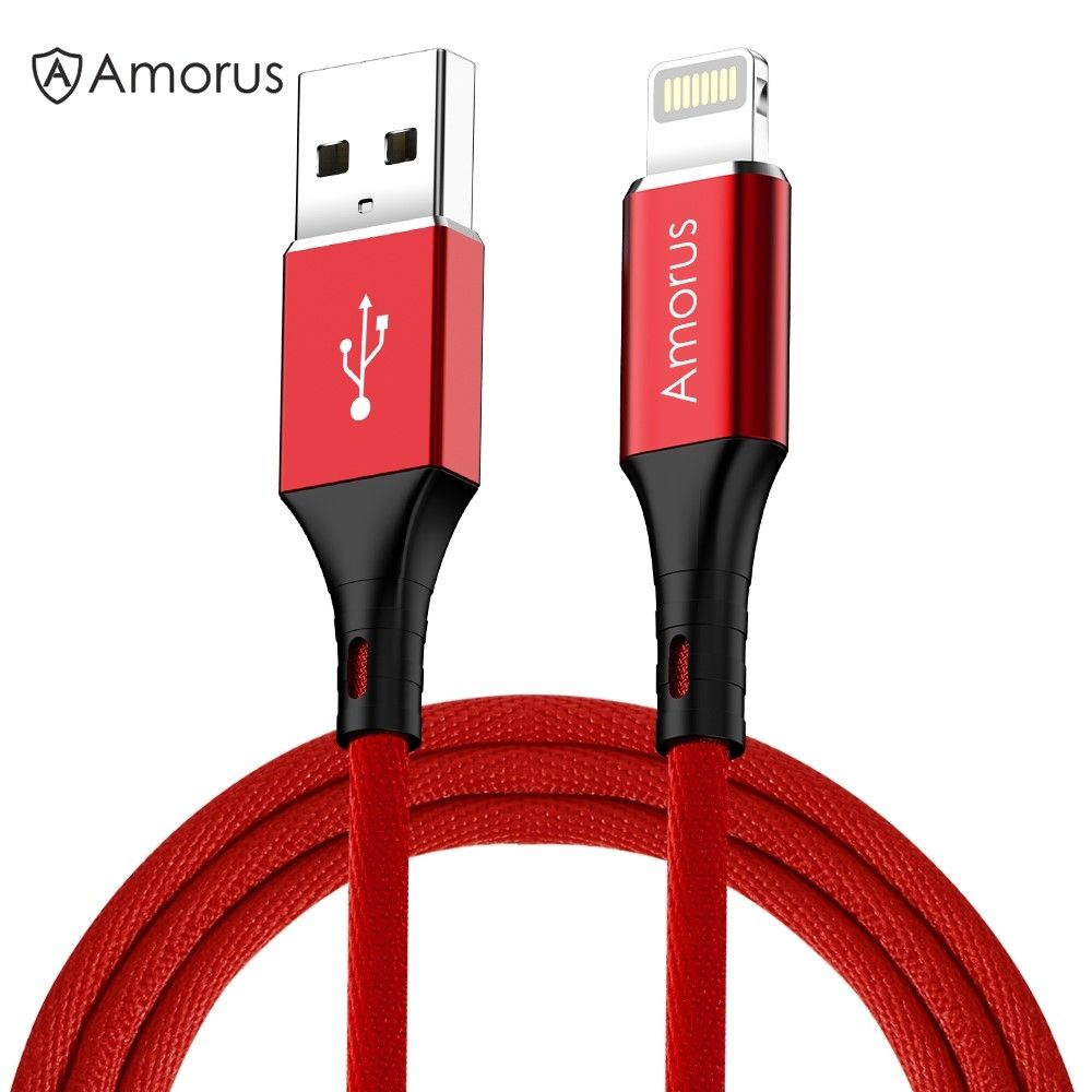 Image of   AMORUS - Lightning 8pin Nylon USB-Kabel data/sync - iphone/iPad - Rød