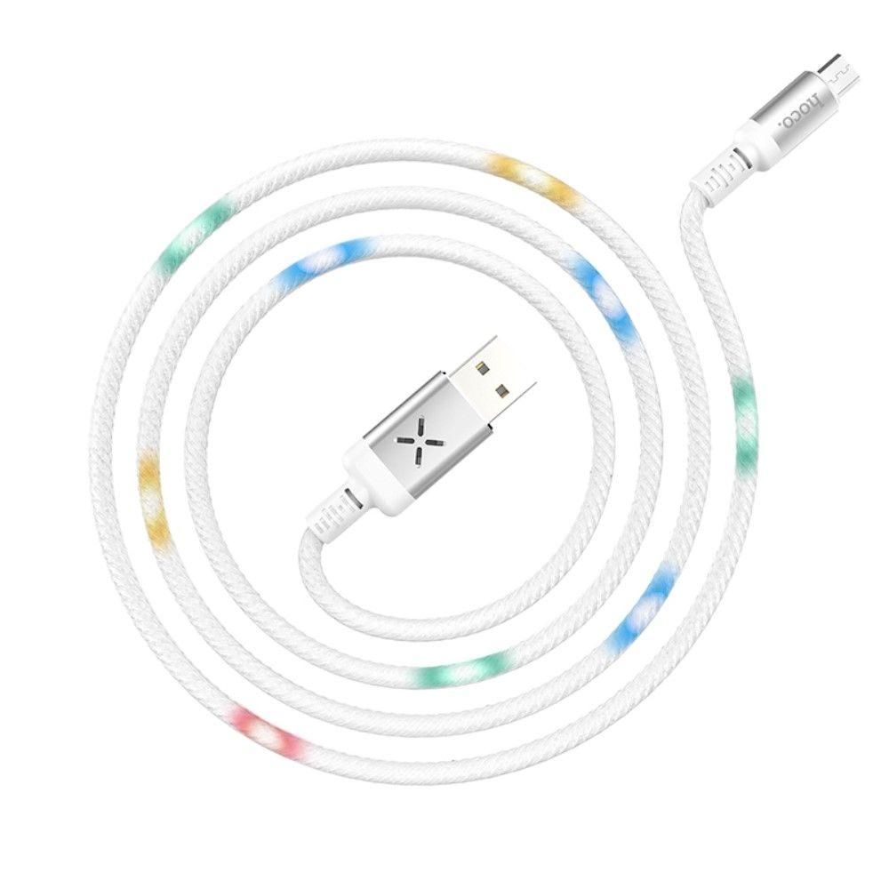 Image of   MikroUSB - HOCO U63 Spirit oplader kabel med LED lys 1m - Hvid