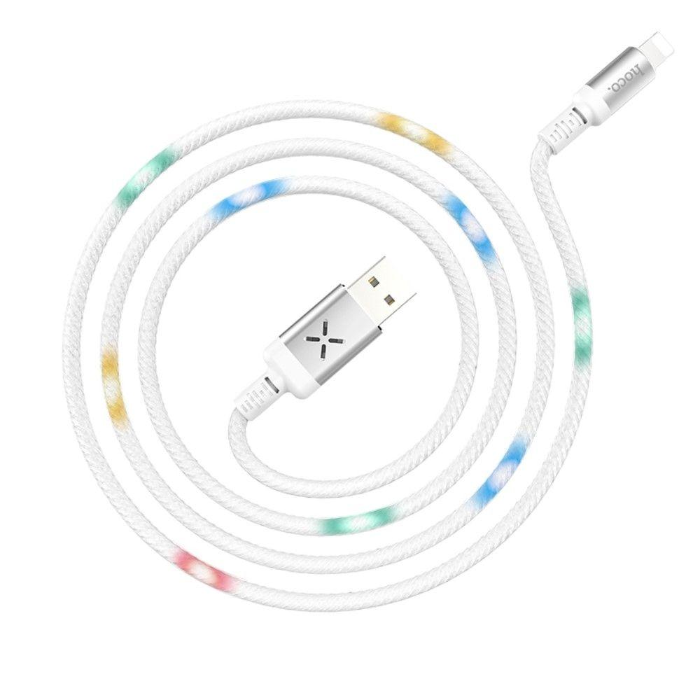 Image of Apple Lightning 8 pin - HOCO U63 Spirit oplader kabel med LED lys 1m - Hvid