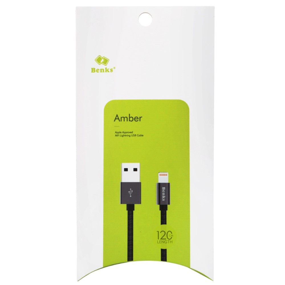 Image of   BENKS Amber Apple MFI Lightning kabel 1.2 m.