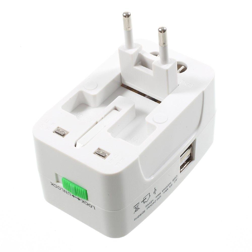 Image of   Universal rejseadapter Dual USB oplader - Hvid