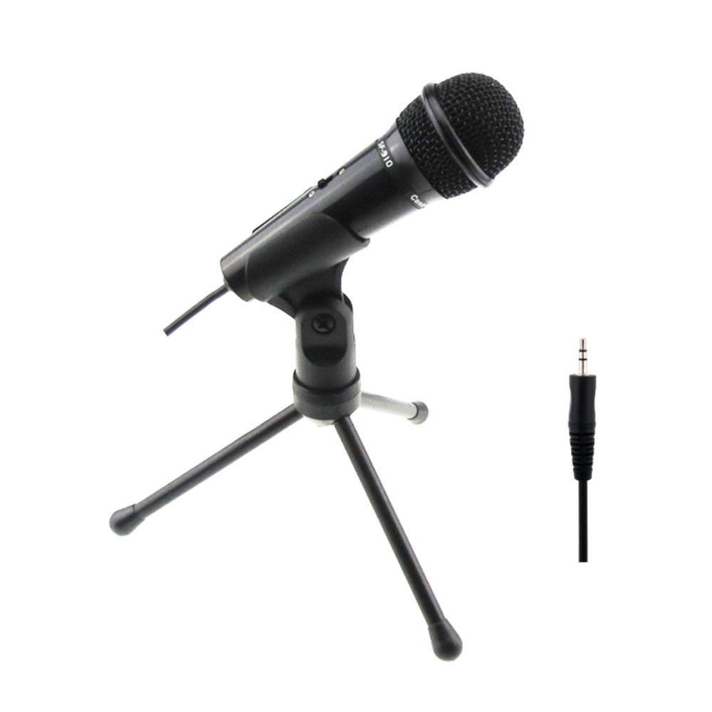 Mikrofon med bordholder – til PC / Laptop mm – 3.5mm kabel tilslutning – Sort