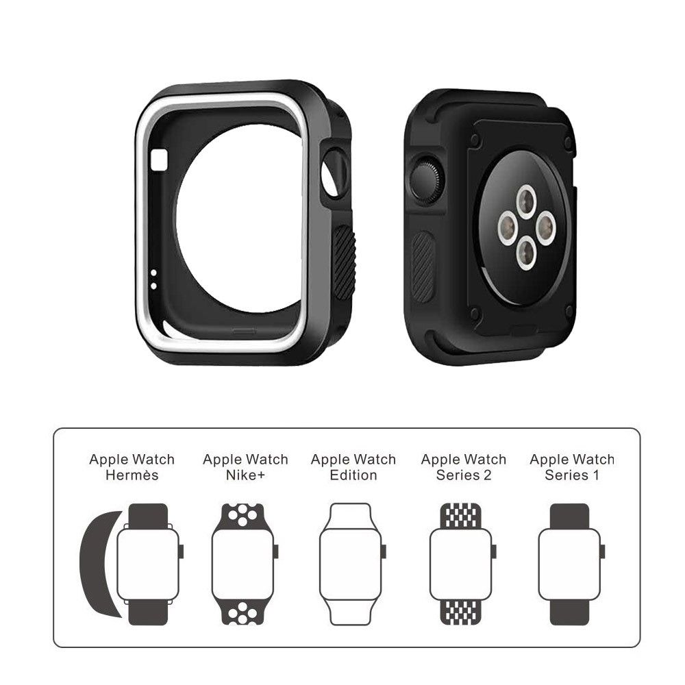 Image of   Apple watch Series 3/2/1 38mm. silikone cover - Sort/hvid