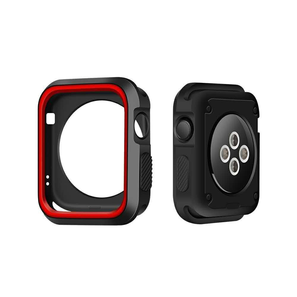 Image of   Apple watch Series 3/2/1 42mm. silikone cover - Sort/rød