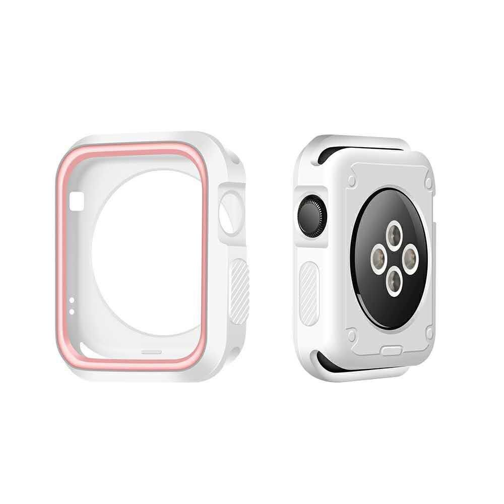 Image of   Apple watch Series 3/2/1 42mm. silikone cover - Hvid/Pink