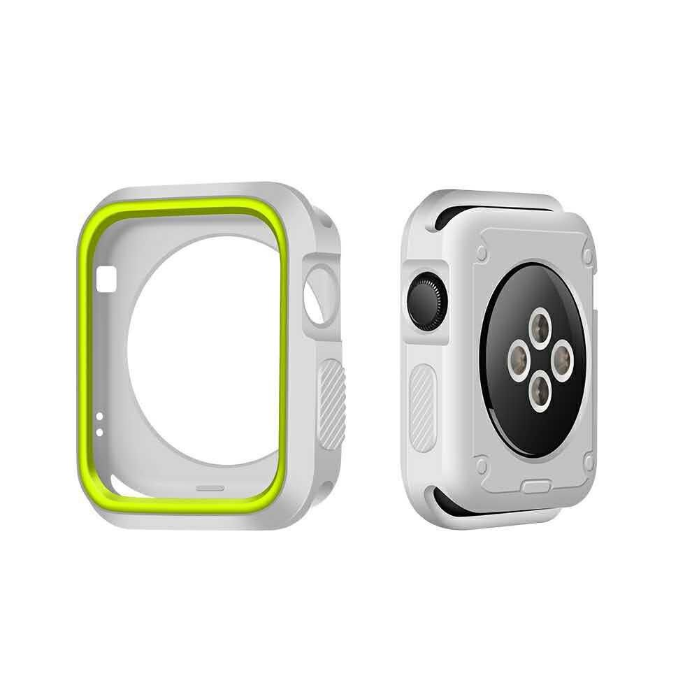 Image of   Apple watch Series 3/2/1 42mm. silikone cover - Hvid/Grøn
