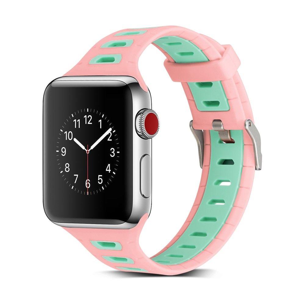Image of   Apple Watch Silikone armbånd / rem 38mm Series 3/2/1 - Pink/grøn
