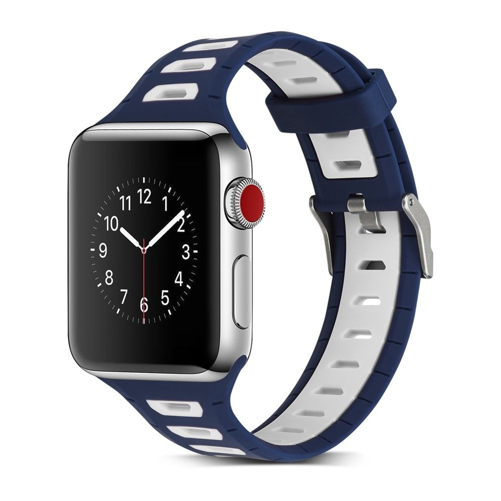 Image of   Apple Watch Silikone armbånd / rem 38mm Series 3/2/1 - Blå/Hvid