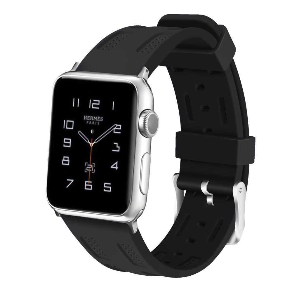Image of   Apple Watch Series 4/3/2/1 - 40/38mm. - Silikone rem justerbar - Sort