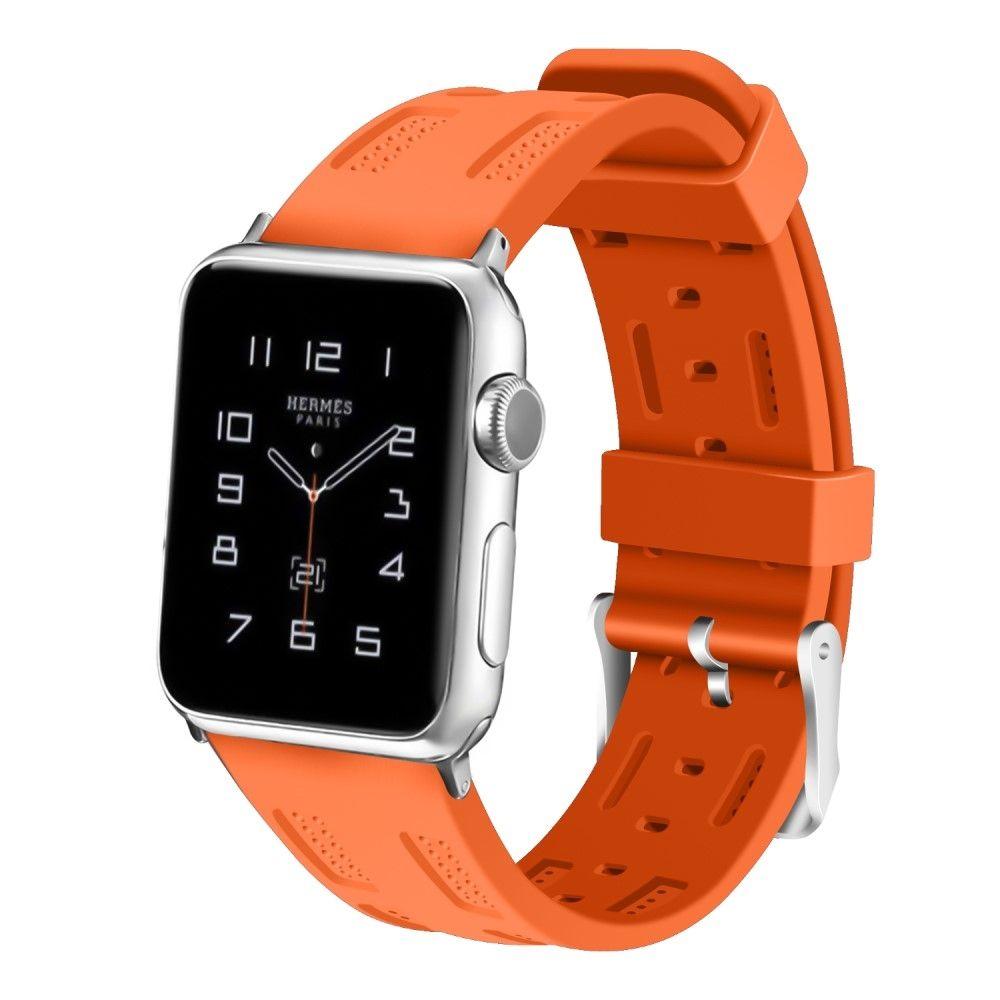 Image of   Apple Watch Series 4/3/2/1 - 40/38mm. - Silikone rem justerbar - Orange
