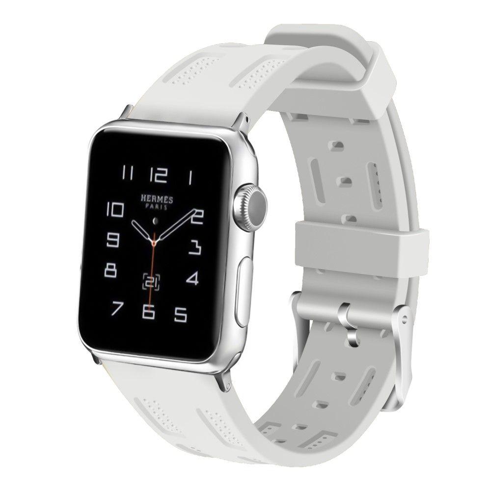Image of   Apple Watch Series 4/3/2/1 - 44/42mm. - Silikone rem justerbar - Hvid