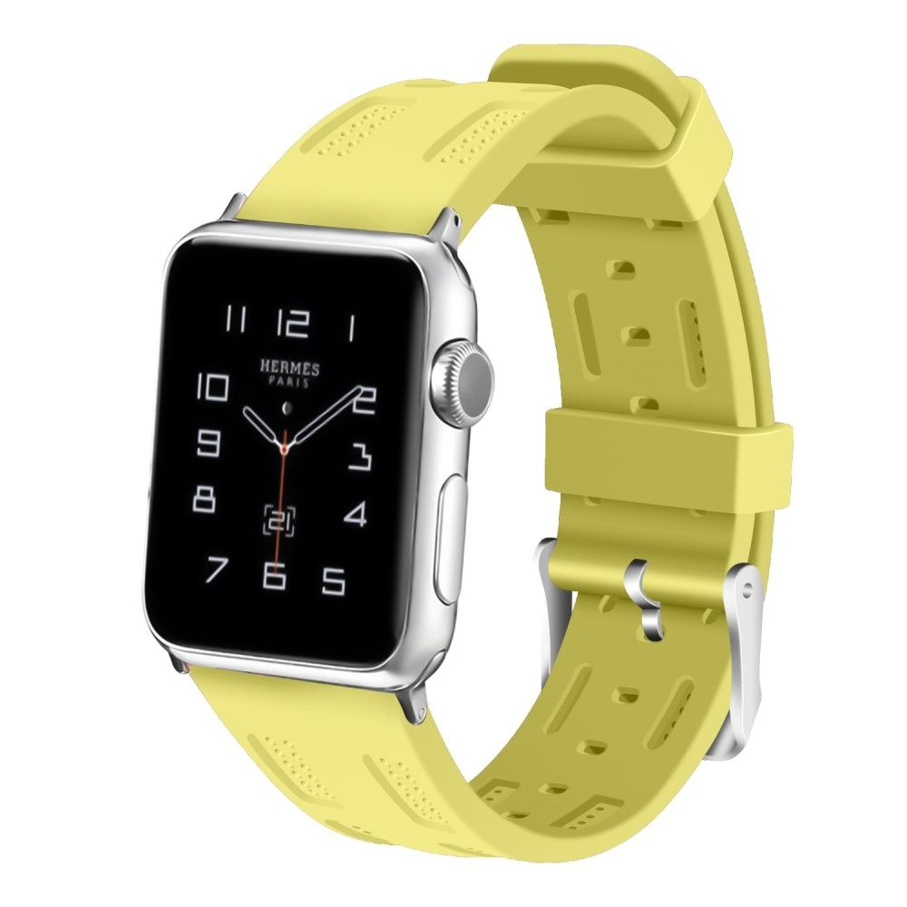Image of   Apple Watch Series 4/3/2/1 - 44/42mm. - Silikone rem justerbar - Gul