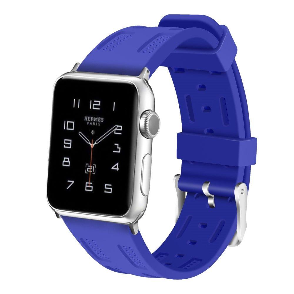 Image of   Apple Watch Series 4/3/2/1 - 44/42mm. - Silikone rem justerbar - Blå