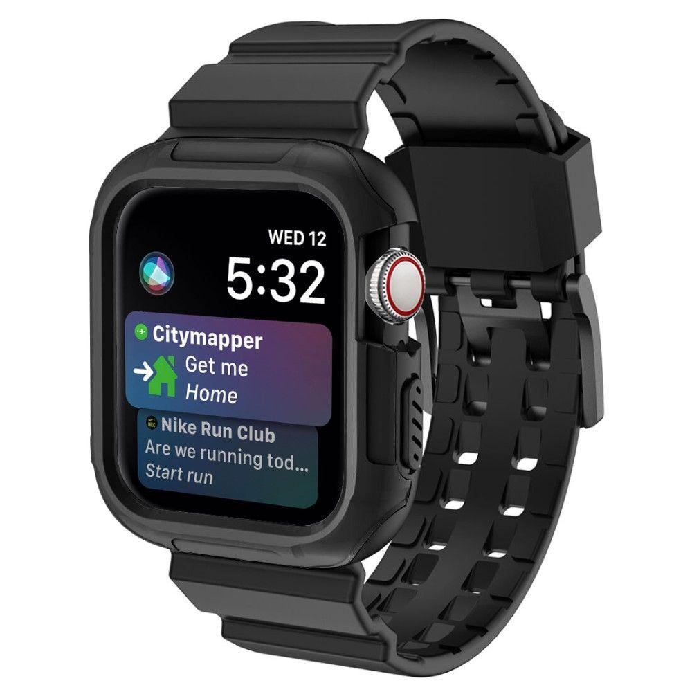 Billede af Apple Watch Series 5/4/3/2/1 - 44/42mm - Blødt silikone armbånd - Sort