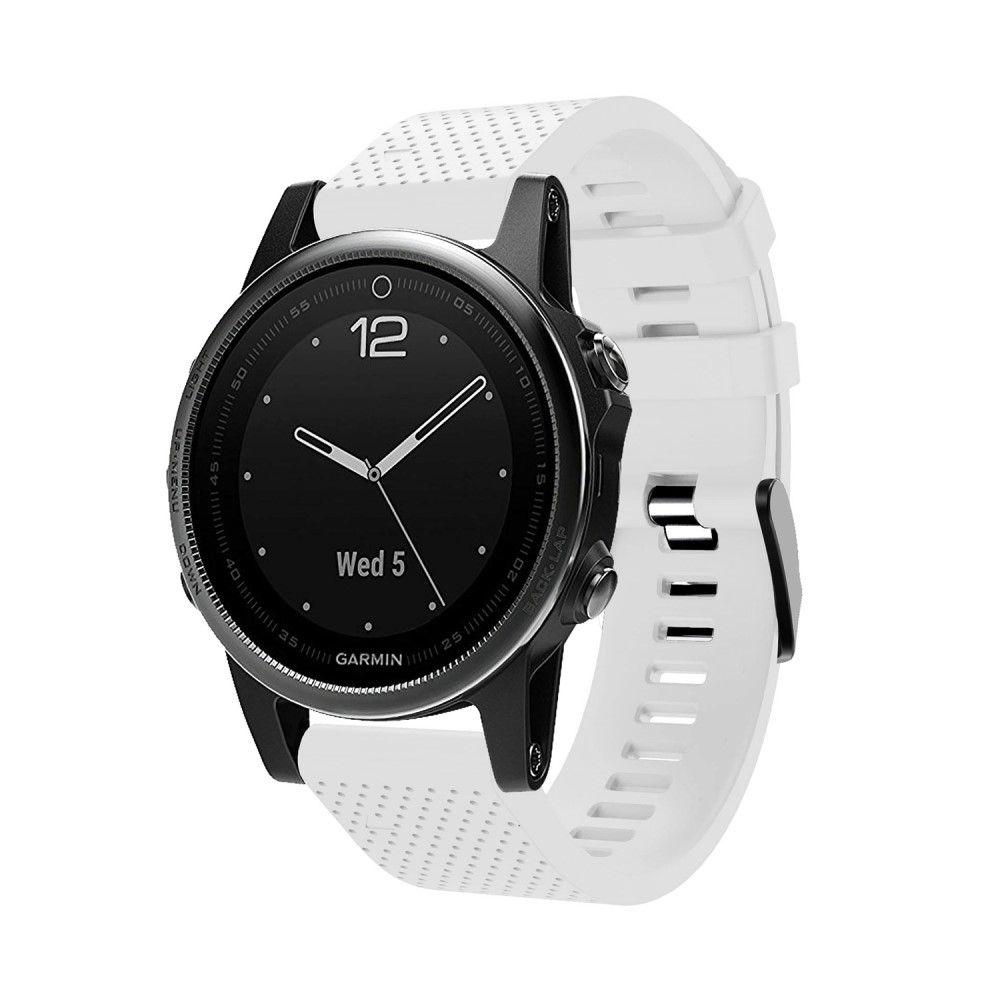 Garmin Fenix 5s Plus - Silikone urrem - Passer til håndled omkreds 135-235mm - Hvid