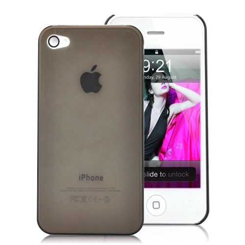 Image of   iPhone 4 / 4S - Frosted Ultratyndt tpu cover - sort/gennemsigtigt