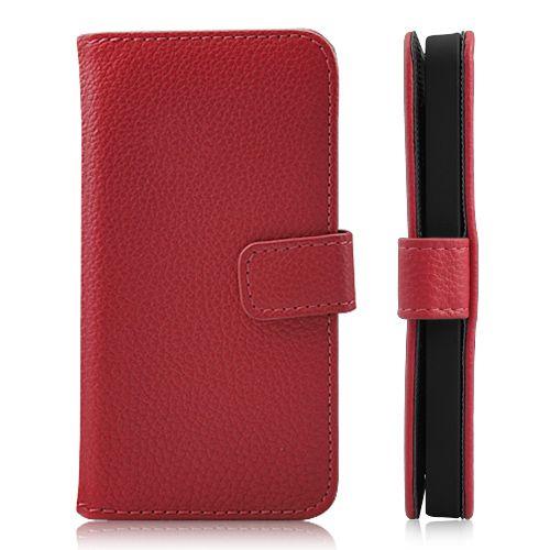 iPhone 5/5s/SE - Magnetisk litchipræget PU læder flip etui m. kort holder - Rød