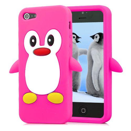 Image of   iPhone 5/5s/SE - Silikone cover med kært pingvin mønster - magenta