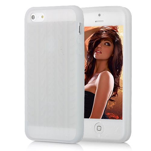 Image of   iPhone 5/5s/SE - Mønstret ant-islip silikone cover - transparent hvid