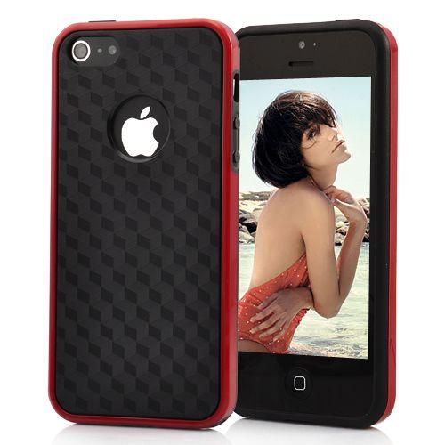 Image of   iPhone 5/5s/SE - Ternet TPU cover - sort/rød
