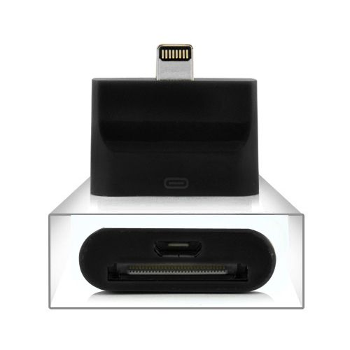 Image of   iPhone 5/iPad 4/mini /iPod 5 - Adapter 8 pin til USB og 30 pin - Sort