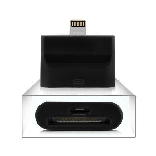 iPhone 5/iPad 4/mini /iPod 5 - Adapter 8 pin til USB og 30 pin - Sort