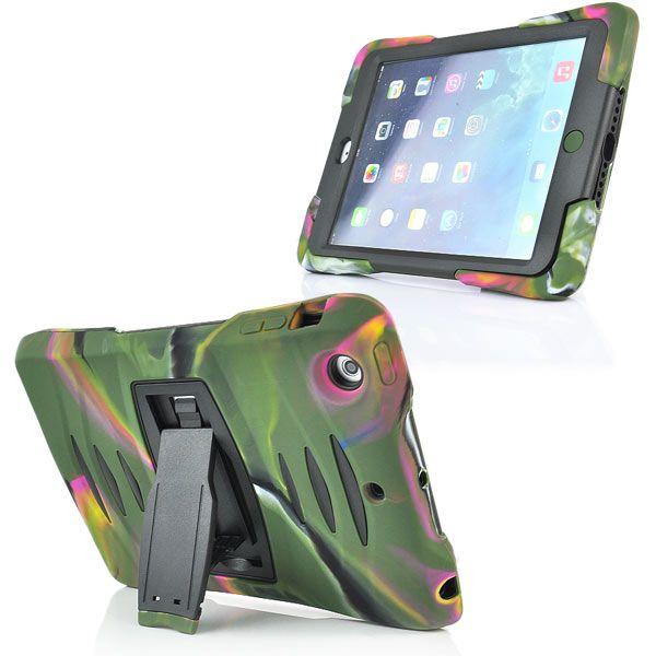 Image of   iPad Mini 1/2/3 - 3 i 1 Stødsikker Silikone og Plastik Cover Etui - Armygrøn